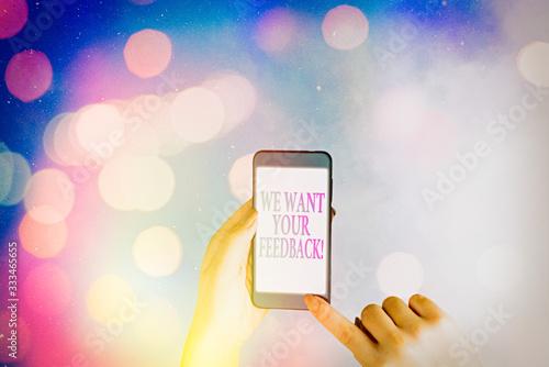Word writing text We Want Your Feedback Fototapeta