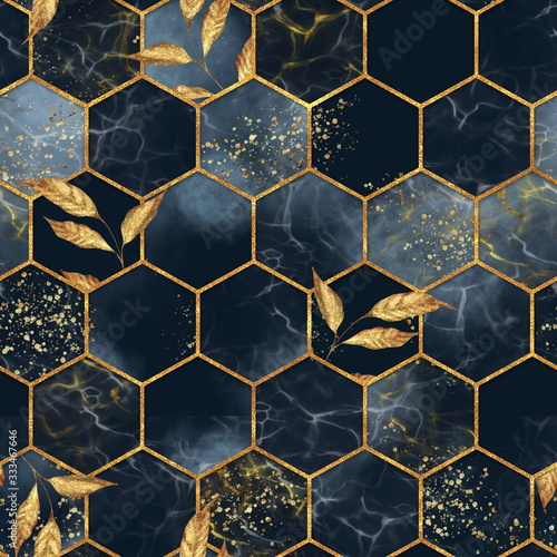 Tapety złote  marble-hexagon-seamless-texture-with-golden-leaves-abstract-background