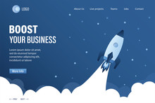 Boost Your Business Landing Page Template. Spaceship Takes Off Into Space. Expansion Or Optimization