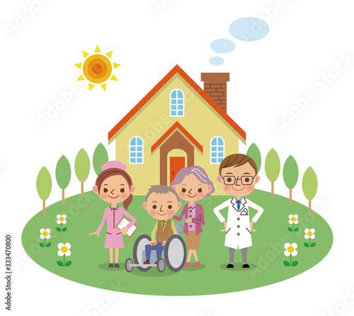Fotografie, Obraz 在宅医療スタッフと患者イメージ(医者・看護師・老夫婦)