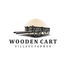 Wooden Cart Logo Vintage Silhouette Simple Minimalist.