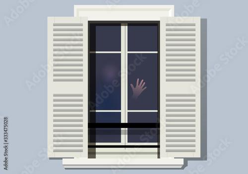 Obraz na plátně Concept de la solitude et du confinement suite à une épidémie, avec une personne qui pose sa main sur sa fenêtre en signe d'appel de détresse