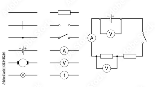 Cuadros en Lienzo Visual vector illustration shows the symbols used in electrical circuits