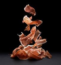 Falling Jamon Slices, Raw Pork...