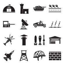 Military Base Icons. Black Fla...