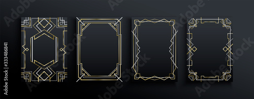 Abstract gold black art deco frame template set