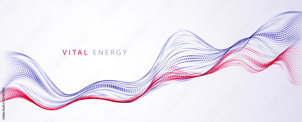 3d particles mesh array, sound wave flowing. Round points vector effect illustration. Blended mesh, 3d futuristic technology style.