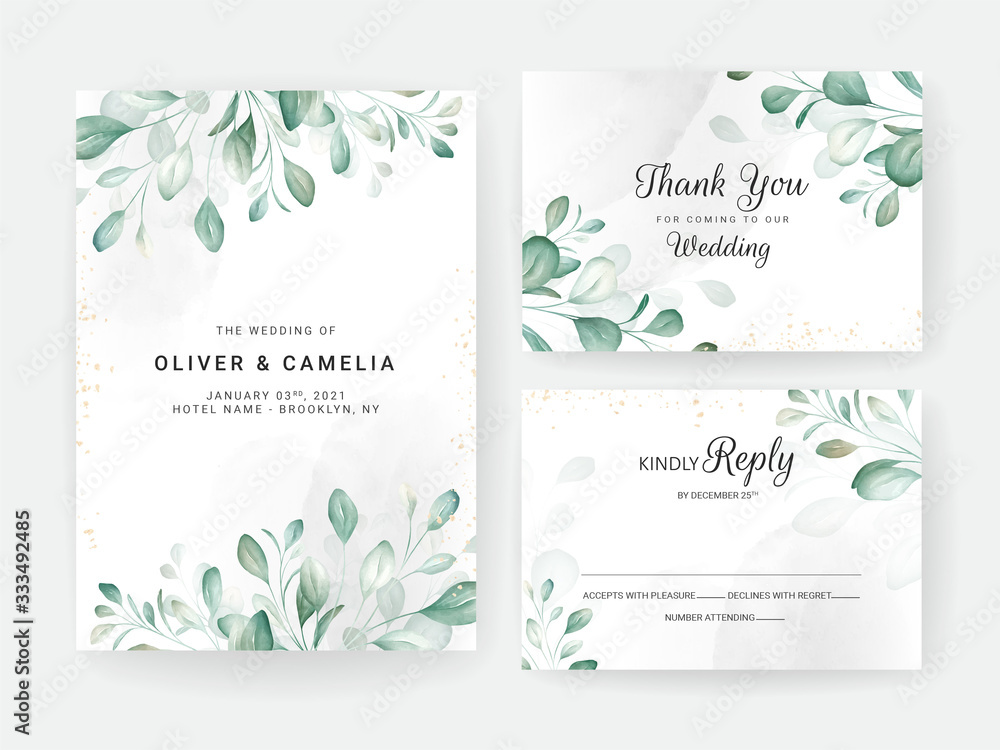 Fototapeta Foliage wedding invitation card template set with watercolor floral arrangements and border. Flowers decoration for save the date, greeting, rsvp, thank you, poster. Botanic illustration vector