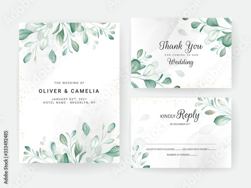 Fototapeta Foliage wedding invitation card template set with watercolor floral arrangements and border. Flowers decoration for save the date, greeting, rsvp, thank you, poster. Botanic illustration vector obraz
