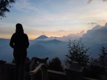 Man Watching Sunrise At Mount ...