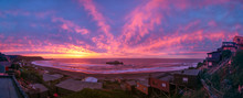 Panorama Of Violet - Purple Sunset Over The Beach