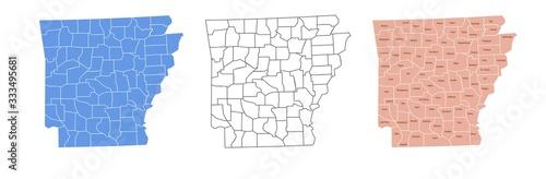 Arkansas Map Vector Set With Counties Name and Border Boundaries Black Silhouett Wallpaper Mural