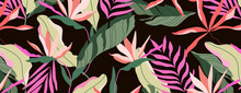Dark Tropical Pattern. Brown Background Seamless Design. Hawaiian Palm Leaves, Banana Leaves And Strelitzia Flowers. Beautiful Summer Paradise Concept. Banner, Leaflet Design Element.
