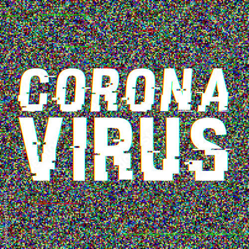 Coronavirus vector glitch text Wallpaper Mural