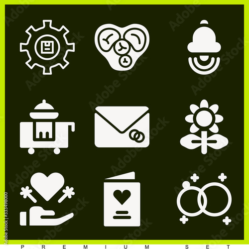 Set of 9 romantic filled icons