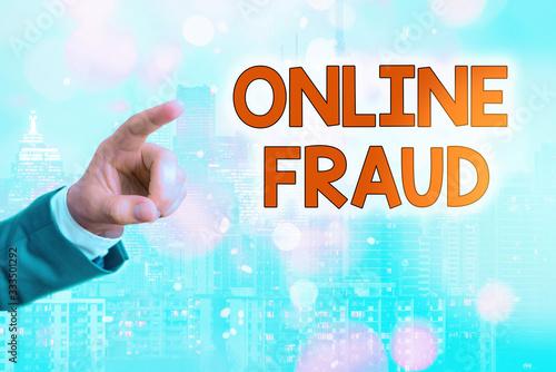 Fototapeta Writing note showing Online Fraud