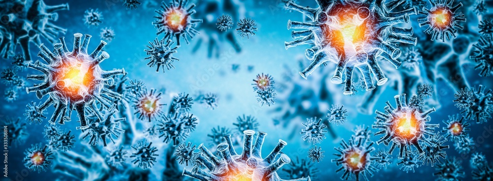 Fototapeta Image of flu COVID-19 virus cell. Coronavirus Covid 19 outbreak influenza background.