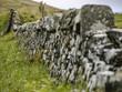 Hintergrund, Textur, Template: Perspektivische Nahaufnahme einer Feldsteinmauer, die im Hintergrund verläuft