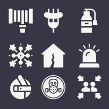 Set Of 9 Fire Filled Icons