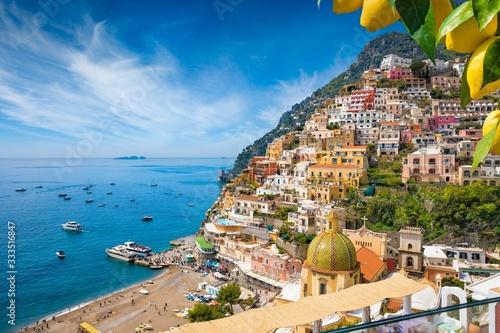 Cuadros en Lienzo Beautiful Positano with comfortable beach and blue sea on Amalfi Coast in Campania, Italy