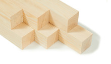 Planned Wood Timber Square Wooden Beams Stack Isolated On White