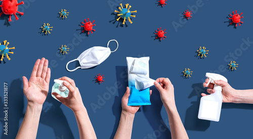Leinwand Poster Prevent virus and germs - healthcare and hygiene concept