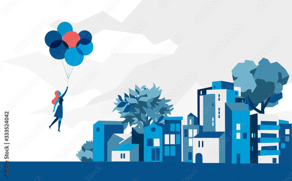 Fototapeta Una ragazza portata via dai palloncini sopra la città