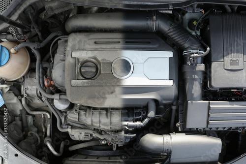 Slika na platnu car engine before and after washing, collage
