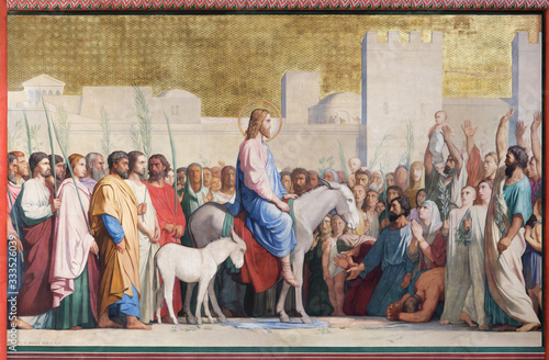 Canvas Print Christ's Entrance to Jerusalem by Hippolyte Flandrin in church Saint-Germain-des