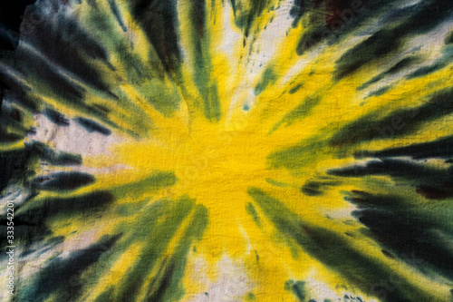 Yellow, Green, Black Abstract Handmade Psychedelic Tie Dye Design Pattern.