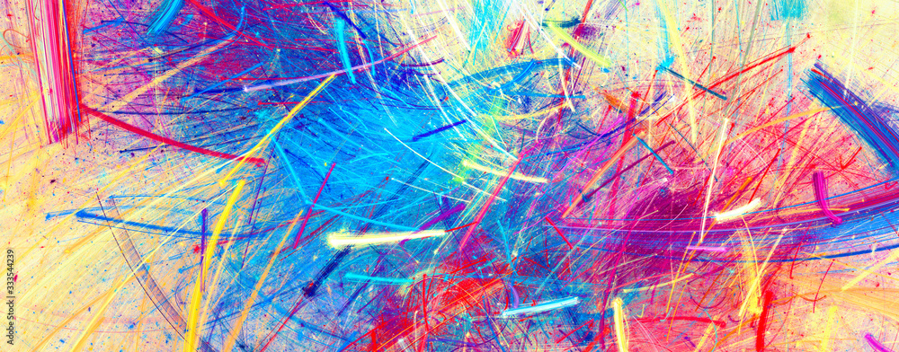 Fototapeta Bright artistic splashes. Abstract painting color texture. Modern pattern. Multicolor background. Fractal artwork for creative graphic design