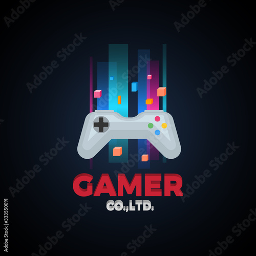 Gaming color concept with joystick icon.
