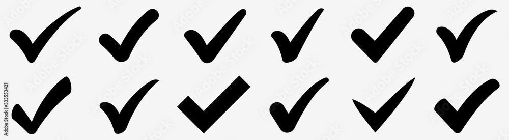 Fototapeta Check mark icons set. Check marks symbol collection. Simple check mark. Quality sign icon. Checklist symbols. Approval check flat style - stock vector.