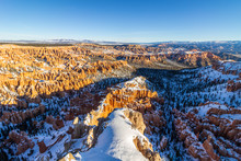 Bryce Canyon Hoodoos At Sunrise In Winter On Sunny Morning. Snow. Bryce Canyon National Park. Utah, USA