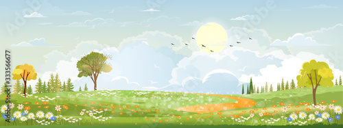 Spring landscape in countryside with green meadow on hills with blue sky, Vector Summer or Spring landscape, Panoramic village with grass field and wildflowers, Holiday natural background - 333566677