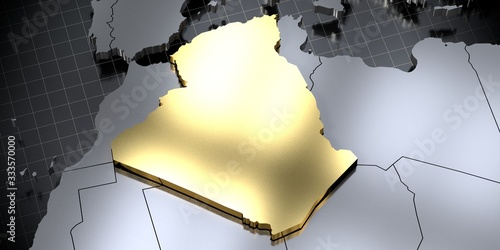 Photo Algeria - country shape - 3D illustration