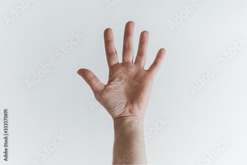 Palma da mão aberta de mulher branca, mostrando os 5 dedos Canvas Print