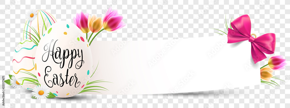 Fototapeta Happy easter paper banner with easter eggs and flowers transparent isolated