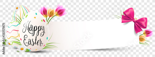 Happy easter paper banner with easter eggs and flowers transparent isolated - 333571671