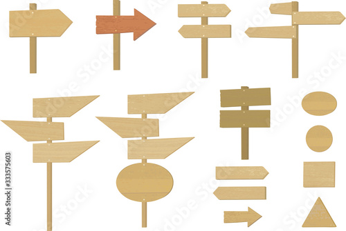 Fotografiet Vector illustration of various wooden standing arrows, signboard and signposts