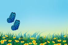 Couple Butterflies Over Yellow...