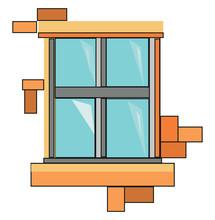 Yellow Window, Illustration, Vector On White Background