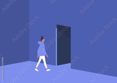 Photo Young female character leaving the room, exit