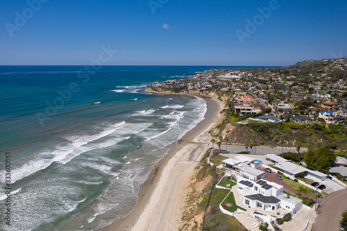 Aerial drone photo of a completely empty Pacific Beach due to the Coronavirus and Covid 19 Pandemic. San Diego, Ca, USA.
