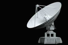 White Radio Telescope, Large Satellite Dish, Radar Isolated On A Black Background. Technology Concept, Search For Extraterrestrial Life, Wiretap Of Space. 3D Rendering,  3D Illustration.