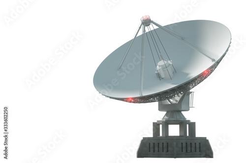 Fotografie, Tablou White radio telescope, a large satellite dish isolated on a white background