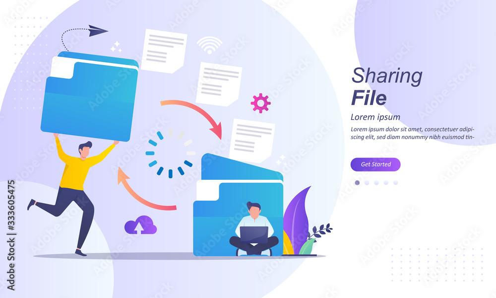 Fototapeta Sharing file, file transferred encrypted form, transfer of documentation, migration concept, Suitable for web landing page, ui, mobile app, banner template. Vector Illustration.