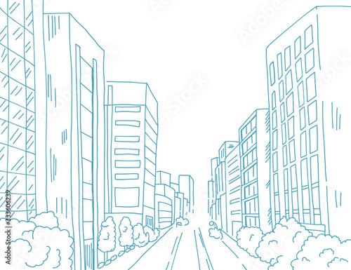 都会のビルビジネス街を線でシンプルに描いた背景画 Canvas Print