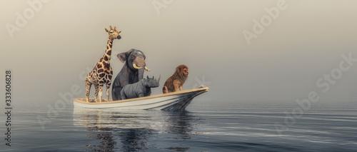 Fotografia Animlas on boat