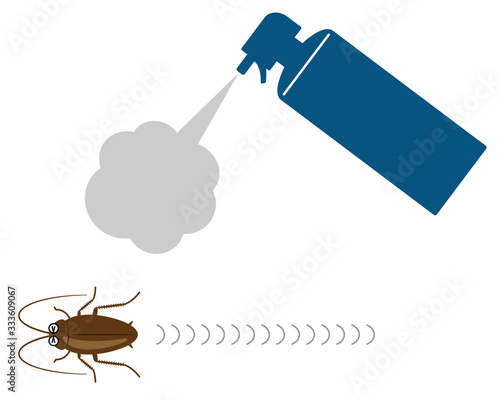 Cuadros en Lienzo 殺虫剤スプレーから逃げ回るゴキブリ